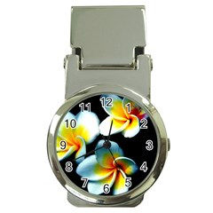 Flowers Black White Bunch Floral Money Clip Watches