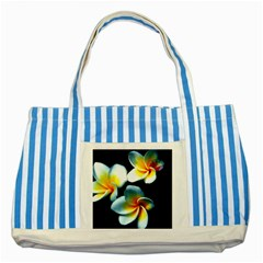 Flowers Black White Bunch Floral Striped Blue Tote Bag