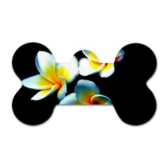 Flowers Black White Bunch Floral Dog Tag Bone (two Sides)