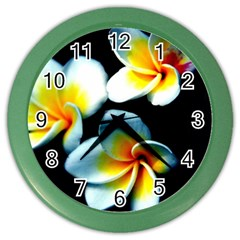 Flowers Black White Bunch Floral Color Wall Clocks