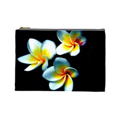 Flowers Black White Bunch Floral Cosmetic Bag (large)