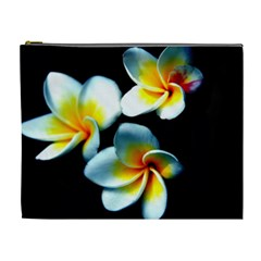 Flowers Black White Bunch Floral Cosmetic Bag (xl)