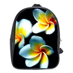 Flowers Black White Bunch Floral School Bags(large)