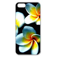 Flowers Black White Bunch Floral Apple Seamless Iphone 5 Case (clear)