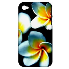 Flowers Black White Bunch Floral Apple Iphone 4/4s Hardshell Case (pc+silicone)