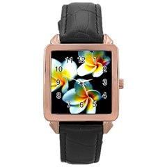 Flowers Black White Bunch Floral Rose Gold Leather Watch