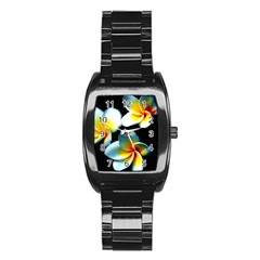 Flowers Black White Bunch Floral Stainless Steel Barrel Watch