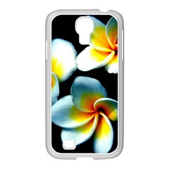 Flowers Black White Bunch Floral Samsung GALAXY S4 I9500/ I9505 Case (White)