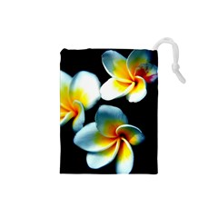Flowers Black White Bunch Floral Drawstring Pouches (Small)
