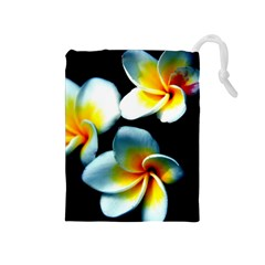 Flowers Black White Bunch Floral Drawstring Pouches (Medium)