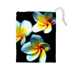 Flowers Black White Bunch Floral Drawstring Pouches (large)