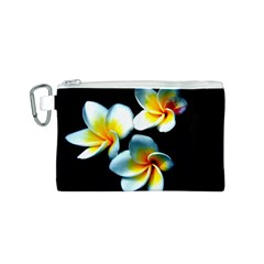 Flowers Black White Bunch Floral Canvas Cosmetic Bag (S)