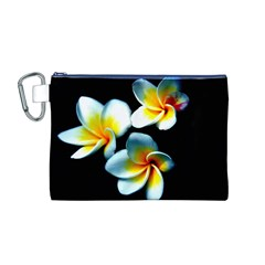 Flowers Black White Bunch Floral Canvas Cosmetic Bag (m)