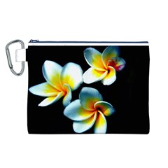 Flowers Black White Bunch Floral Canvas Cosmetic Bag (l)