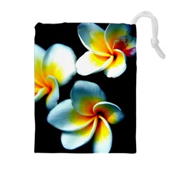 Flowers Black White Bunch Floral Drawstring Pouches (extra Large)