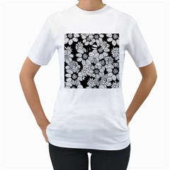 Mandala Calming Coloring Page Women s T-Shirt (White) (Two Sided)
