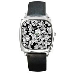 Mandala Calming Coloring Page Square Metal Watch