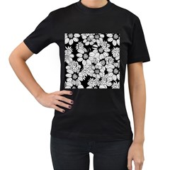 Mandala Calming Coloring Page Women s T-Shirt (Black) (Two Sided)
