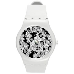 Mandala Calming Coloring Page Round Plastic Sport Watch (m)