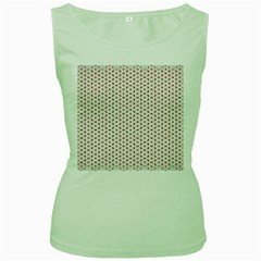 Motif Pattern Decor Backround Women s Green Tank Top