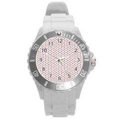 Motif Pattern Decor Backround Round Plastic Sport Watch (l)