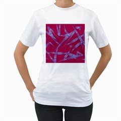 Background Vector Texture Pattern Women s T-Shirt (White) (Two Sided)
