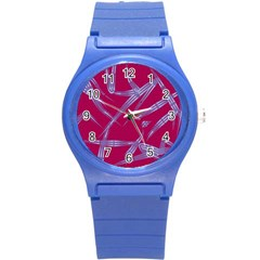 Background Vector Texture Pattern Round Plastic Sport Watch (S)