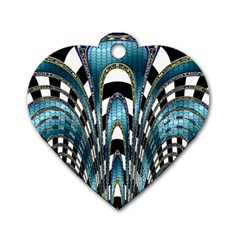 Abstract Art Design Texture Dog Tag Heart (two Sides)