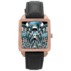Abstract Art Design Texture Rose Gold Leather Watch