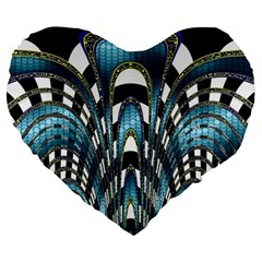 Abstract Art Design Texture Large 19  Premium Flano Heart Shape Cushions