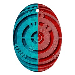 Vector Watch Texture Red Blue Ornament (oval)