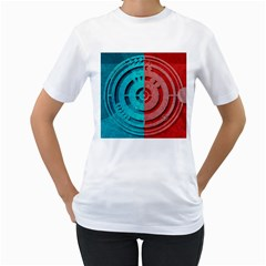 Vector Watch Texture Red Blue Women s T-Shirt (White) (Two Sided)