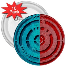 Vector Watch Texture Red Blue 3  Buttons (10 Pack)