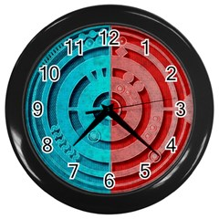 Vector Watch Texture Red Blue Wall Clocks (Black)