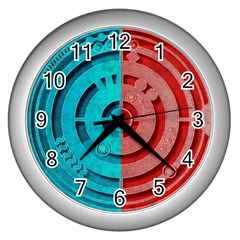 Vector Watch Texture Red Blue Wall Clocks (silver)