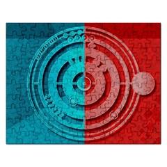 Vector Watch Texture Red Blue Rectangular Jigsaw Puzzl