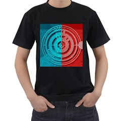 Vector Watch Texture Red Blue Men s T Shirt (black) (two Sided)