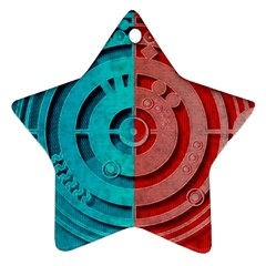 Vector Watch Texture Red Blue Star Ornament (Two Sides)