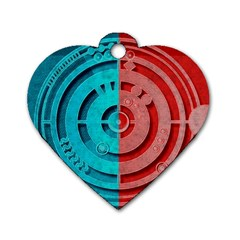 Vector Watch Texture Red Blue Dog Tag Heart (One Side)