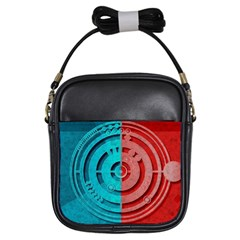 Vector Watch Texture Red Blue Girls Sling Bags