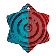 Vector Watch Texture Red Blue Snowflake Ornament (Two Sides)