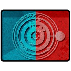 Vector Watch Texture Red Blue Double Sided Fleece Blanket (large)