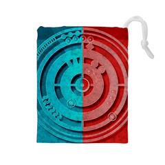 Vector Watch Texture Red Blue Drawstring Pouches (large)