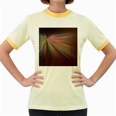 Pattern Flower Background Wallpaper Women s Fitted Ringer T Shirts