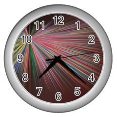 Pattern Flower Background Wallpaper Wall Clocks (silver)