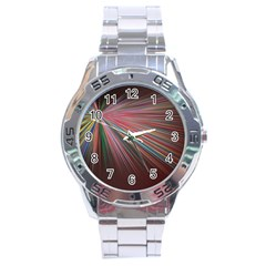 Pattern Flower Background Wallpaper Stainless Steel Analogue Watch