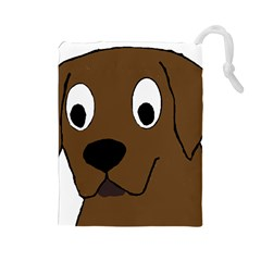 Chocolate Labrador Cartoon Drawstring Pouches (Large)