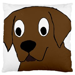 Chocolate Labrador Cartoon Large Flano Cushion Case (Two Sides)