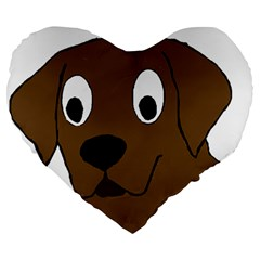 Chocolate Labrador Cartoon Large 19  Premium Flano Heart Shape Cushions