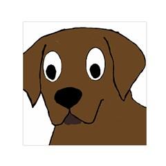 Chocolate Labrador Cartoon Small Satin Scarf (Square)